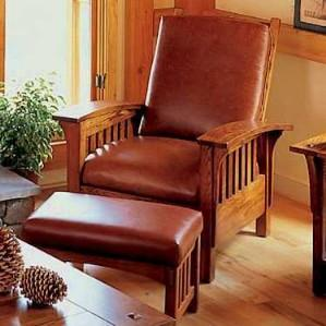 deluxe ash morris recliner u0026 ottoman set view images - Mission Style Recliner