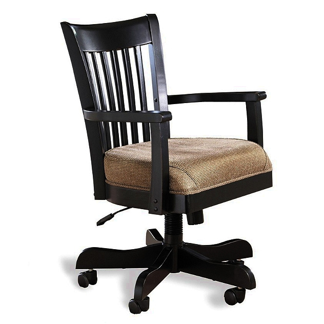 Antique Black Mission Wood Office Chair View Images