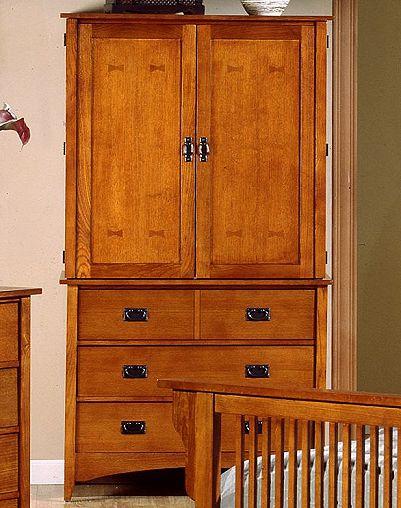 Beau Mission Craftsman Oak Armoire. View Images