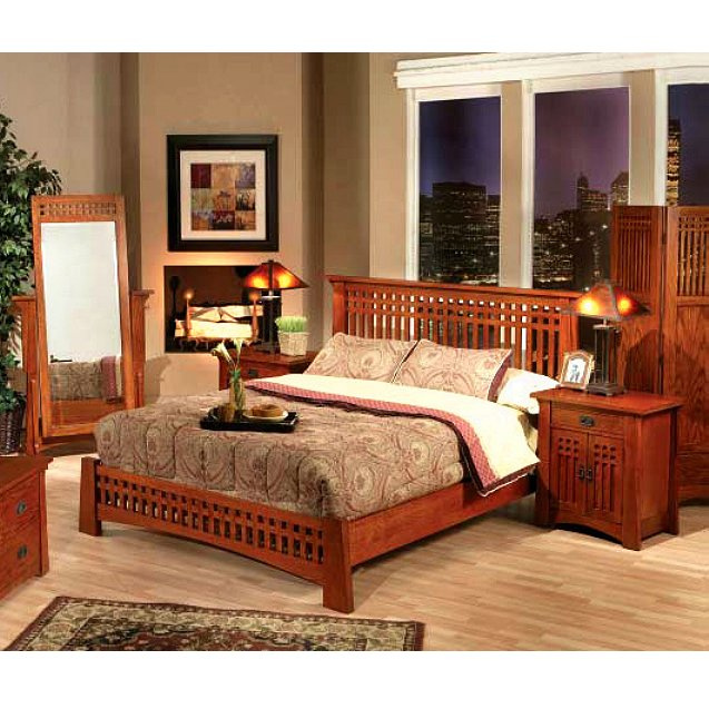 Quarter Sawn Oak Mission Craftsman Ca King Platform Bed View Images