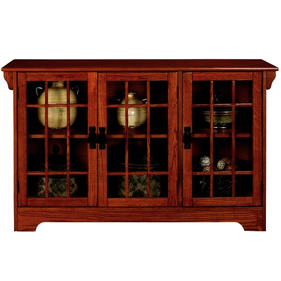 Oak Mission Glass Door Lowboy Sideboard Buffet View Images