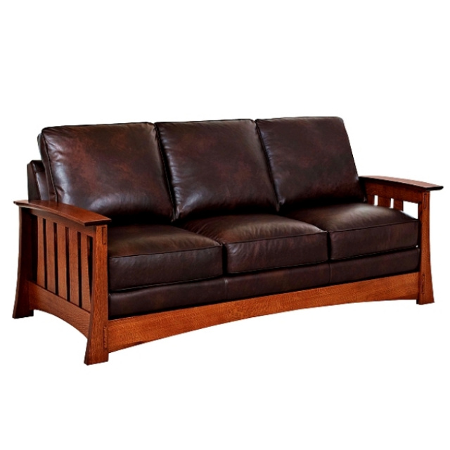 Quarter Sawn Oak Arts Crafts Leather Mission Sofa View Images
