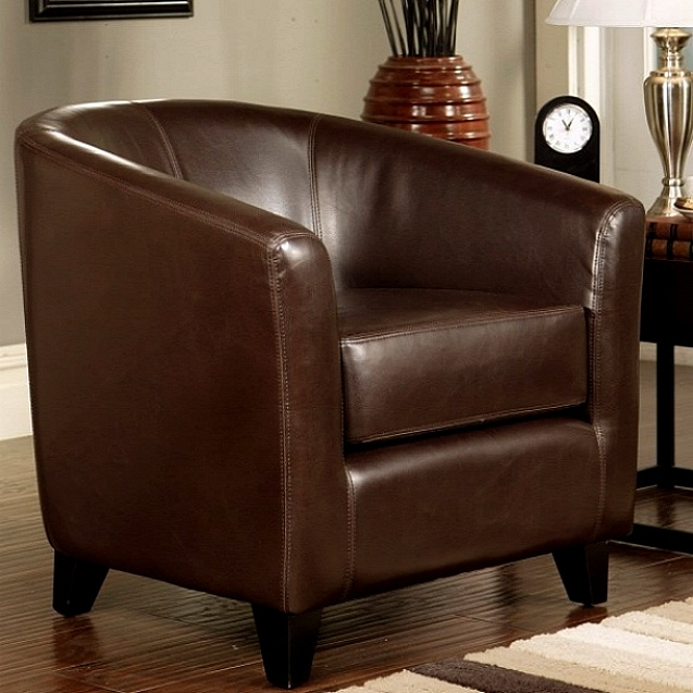 Dark Brown Leather Club Chair. View Images