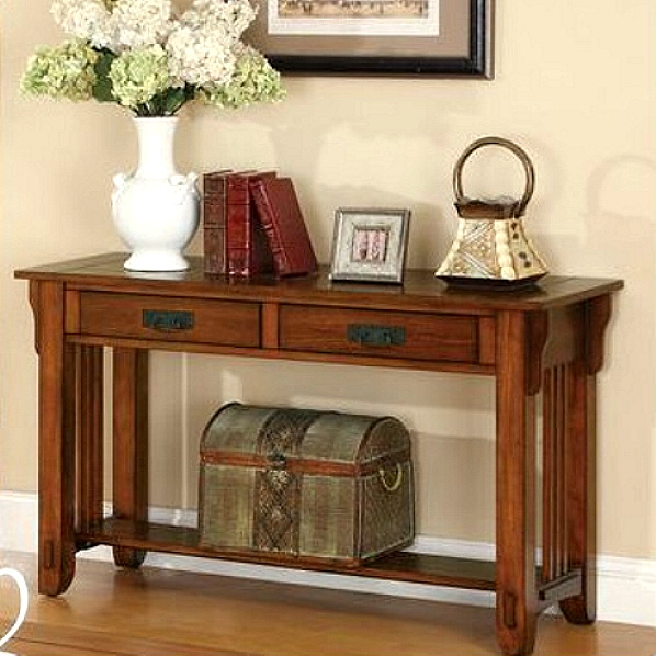 Oak Hardwood Mission Style Sofa Table View Images
