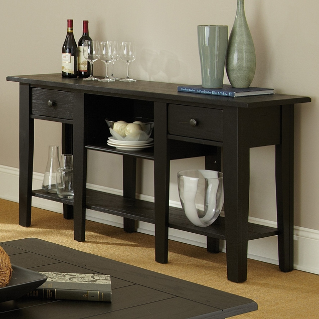 Bon Shaker Cottage Mission Black Sideboard Buffet Table. View Images