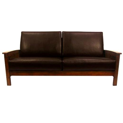 Leather Mission Sofa Mission Style Leather Pillow Back
