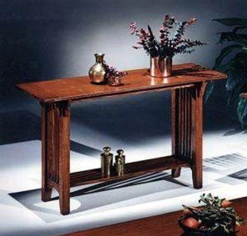 Oak Mission Craftsman Sofa Console Table View Images