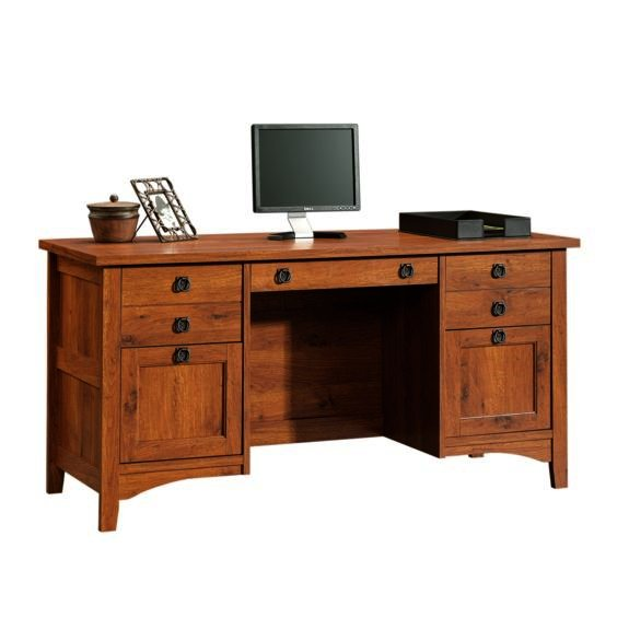 Wooden craftsman style computer desk plans pdf plans for Craftsman style desk plans