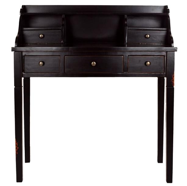 Shaker Antiqued Black Secretary Desk View Images