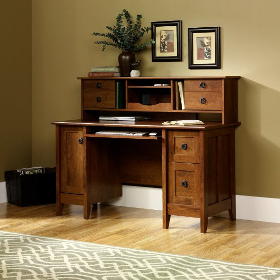 Mission Style Computer Desk With Hutch Office furniture mission
