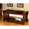 Craftsman Mission Oak Leather Bench
