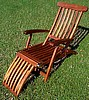 Teak Finish Wood Steamer Lounge Deck Chair