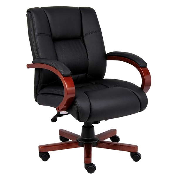 Mahogany & Leather Style Mid-Back Executive Chair