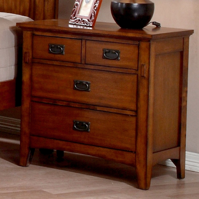 Mission Craftsman Oak 4 Drawer Nightstand