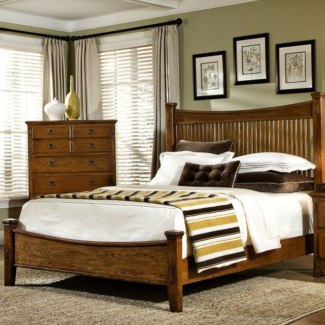 Mission Craftsman Oak Platform Bed King