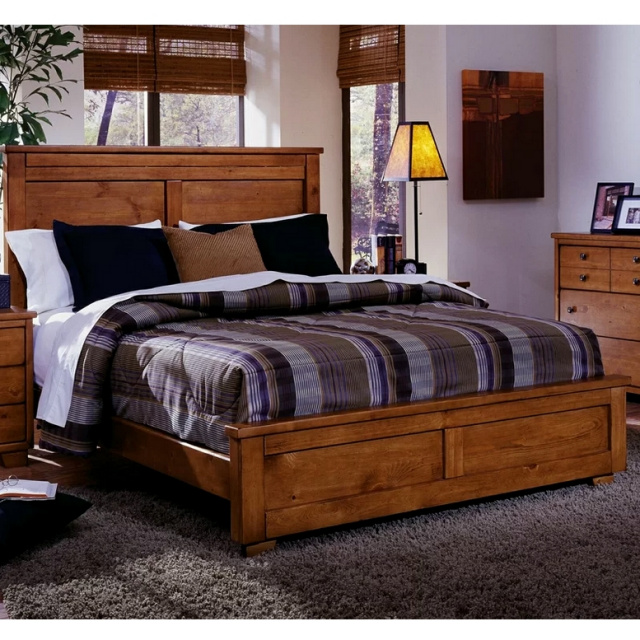 Mission Shaker Pine Platform Queen Bed