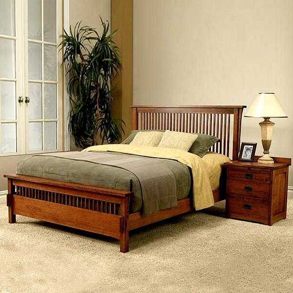 Quarter Sawn Mission Red Oak Queen Bed