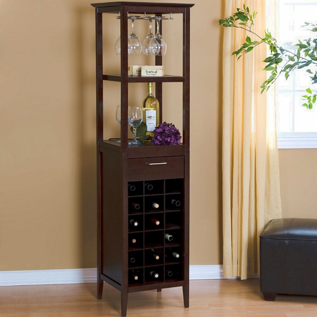 Shaker Espresso Wine Rack Bar Cabinet