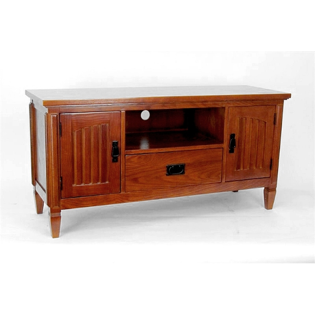 Craftsman Mission Birch Entertainment Center