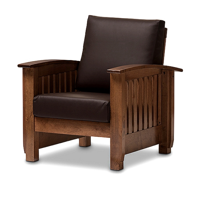 Mission Craftsman Leather Walnut Morris Chair