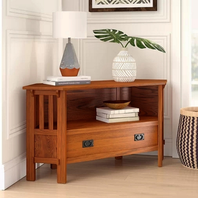 Mission Craftsman Oak Corner TV Stand