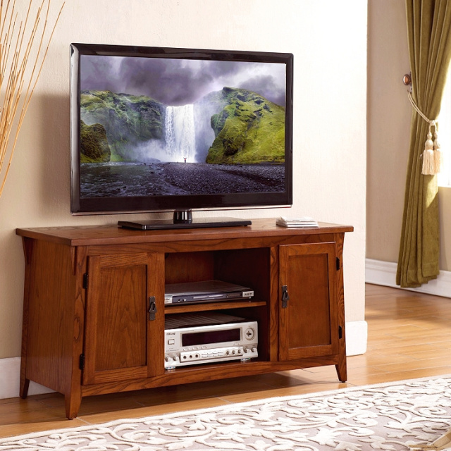 Oak Mission Shaker TV Console
