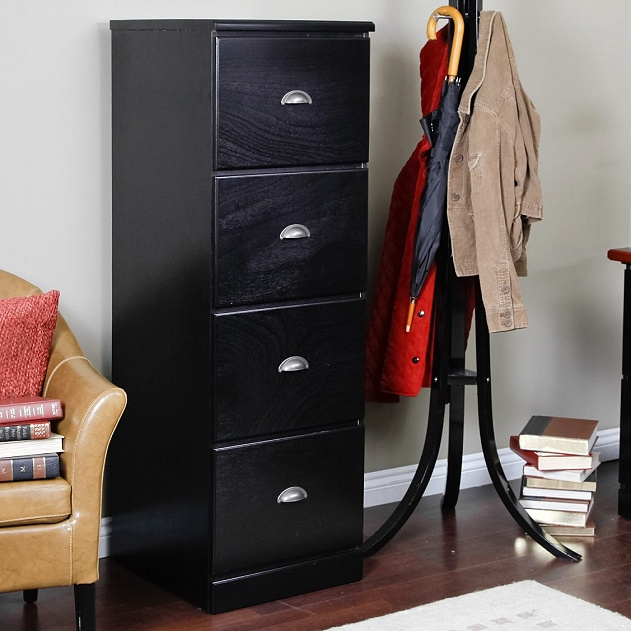 Mission Craftsman Shaker Black 4 Drawer File Cabinet