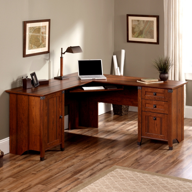 Craftsman Mission L-Shaped Computer Desk w/Wrought Iron