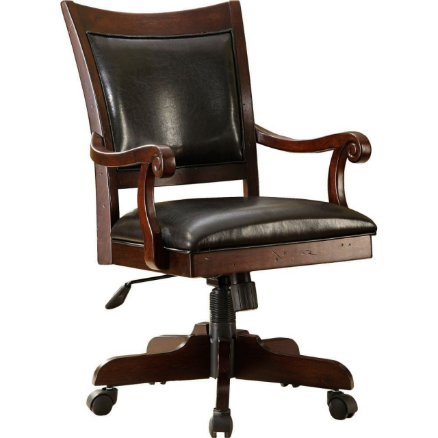 Craftsman Wood Leather Executive Office Chair