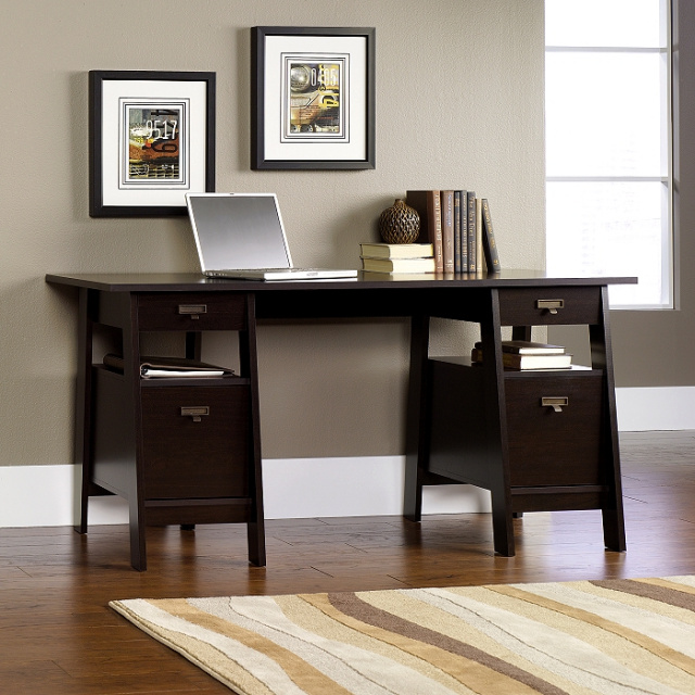 Espresso Shaker Executive Trestle Desk