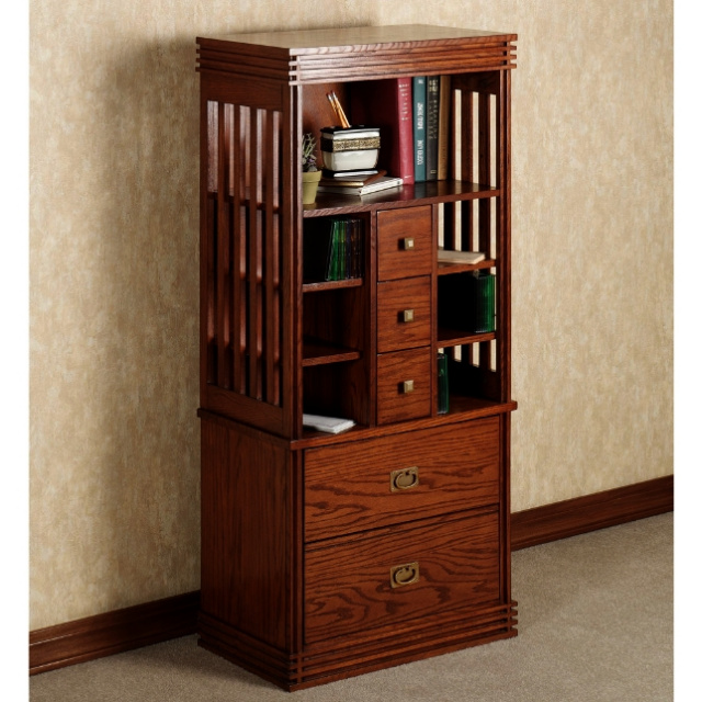 Mission 52 Inch Craftsman Oak Deluxe Bookcase