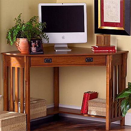 Oak Mission Craftsman Corner Desk
