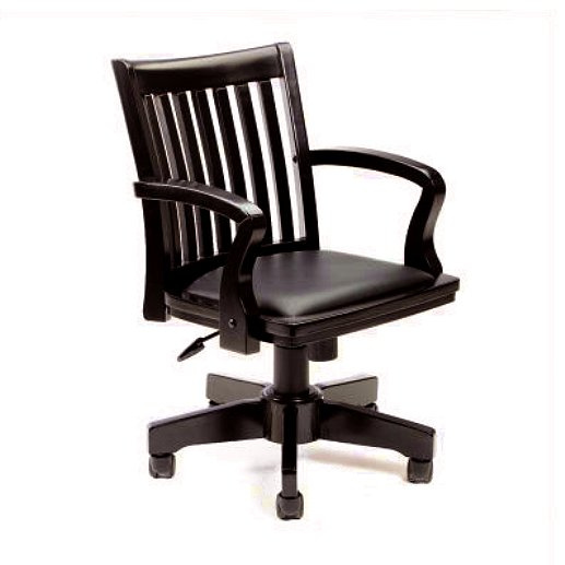 Mission Craftsman Black Leather Office Chair