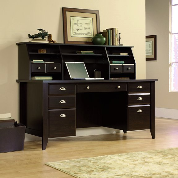Espresso Shaker Executive Computer Desk w/Hutch