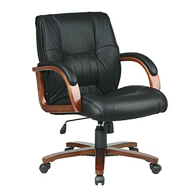 Deluxe Leather & Cherry Wood Office Chair