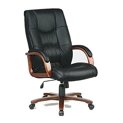 Deluxe Leather & Cherry Wood High-Back Office Chair