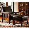 Leather Mission Oak Morris Chair